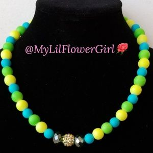 Girls colorful necklace. Birthday gift and sparkly
